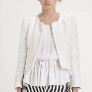 Alice+Olivia Kidman White Textured Jacket L